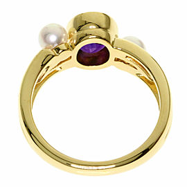 MIKIMOTO 18k Yellow Gold Pearl Amethyst Ring