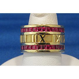 Tiffany & Co. Atlas Wide Ring 18k Yellow Gold and Ruby Size 6