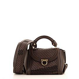 Salvatore Ferragamo Sofia Satchel Woven Leather Small