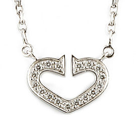 CARTIER 18K white gold Diamond heart Necklace CHAT-246