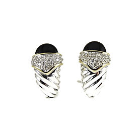 David Yurman Sterling Silver 18K Yellow Gold .55tcw Black Onyx Diamond Capri Earrings