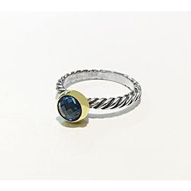 Vintage Rare David Yurman Gold & Sterling Blue Topaz Ring