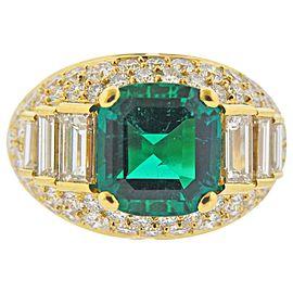 Bulgari Certified 4.03 Carat No Oil Colombian Emerald Diamond Gold Ring