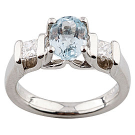 Verragio Platinum Oval Blue Topaz & Diamond Ring Size 5.5