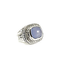 David Yurman Sterling Silver .48tcw Blue Chalcedony Diamond Albion Ring Size 6