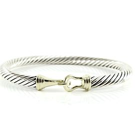 David Yurman Sterling Silver 14K Yellow Gold 5mm Buckle Bracelet
