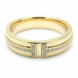 TIFFANY&CO 18K Yellow Gold Diamond T Narrow Ring