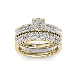 Bridal set in 14K gold with white diamonds of 1.01 ct in weight