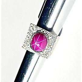 14K White Gold Plum Star Sapphire Diamond Ring Size 7.5