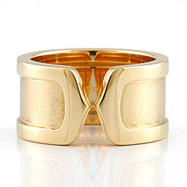 CARTIER 18K Yellow Gold Wide Double C Ring CHAT-978