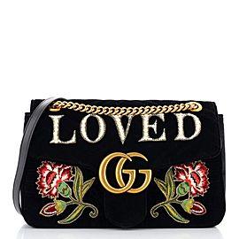 Gucci GG Marmont Flap Bag Embroidered Matelasse Velvet Medium