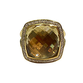 David Yurman Albion Ring 18k Yellow Gold Champagne Citrine and Diamonds Size 7