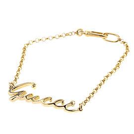 GUCCI 18K Yellow Gold Logo plate bracelet TBRK-199