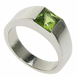 CARTIER 18K White Gold Tank Peridot Ring