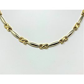 14K Two Tone Yellow and White Gold Curved X Bar Link Necklace