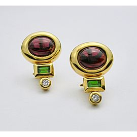 18K Yellow Gold Garnet & Diamond Earrings
