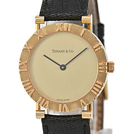 TIFFANY&Co. Atlas M0630 18K Yellow Gold/Leather Quartz Men's Watch
