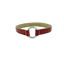 Aaron Basha Red Leather Alligator Bracelet