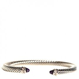 David Yurman Cable Sterling Silver Amethyst Pave Diamond Bracelet