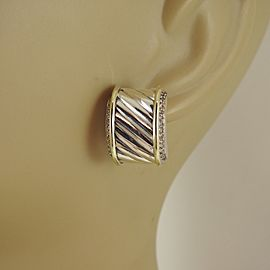 David Yurman 14K Yellow Gold and Sterling Silver Diamond Vintage Earrings