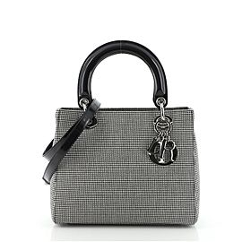 Christian Dior Vintage Lady Dior Bag Houndstooth Canvas Medium