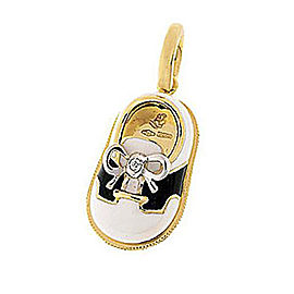 Aaron Basha Saddle Shoe 18k Yellow Gold Black and White Enamel 0.01ct. Diamond Charm