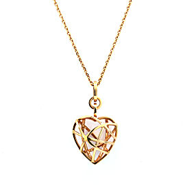 Chopard Guli 18K Rose Gold 3D Cage Heart Pendant with Chain Necklace