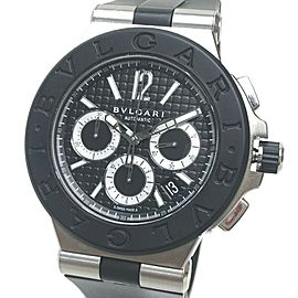 BVLGARI DG42SVCH Stainlees Steel /rubber Diagono Chronograph Watch