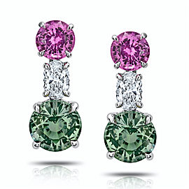 Platinum Green & Pink Sapphire Diamond Earrings