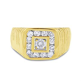 14k Yellow Gold 0.75ct. Diamond Men's Statement Ring Size 8.75