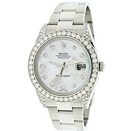 Rolex Datejust II 41MM Stainless Steel Automatic Mens Oyster Watch w/White MOP Diamond Dial, Bezel, & Lugs 116300 Box Papers
