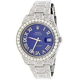 Rolex Datejust II 41MM Stainless Steel Automatic Mens Oyster Watch w/14.2Ct Diamond Dial, Bezel, & Bracelet 116300