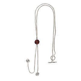 Mosaic Garnet Lariat Necklace