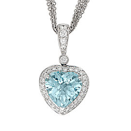 Aquamarine And Diamond Heart Pendant