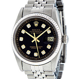 Rolex Datejust 16014 Stainless Steel and White Gold Black Diamond Fluted Mens Watch