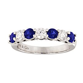 Tiffany & Co. Platinum Blue Sapphires, Diamond Ring