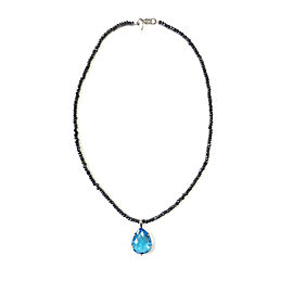 Anzie Sterling Silver Blue Topaz, Black Spinel Necklace