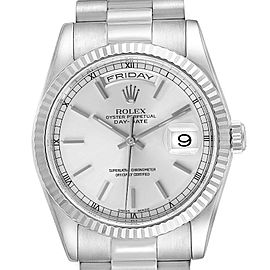 Rolex Day Date 36mm President White Gold Silver Dial Mens Watch 118239 Box