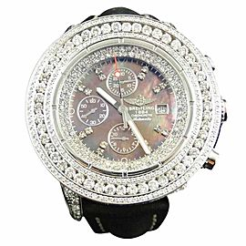 Breitling Mens 3 Row Super Avenger Aeromarine 55 MM Genuine Diamond 23 Ct Watch