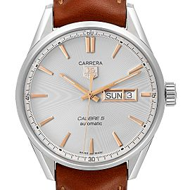 Tag Heuer Carrera Day Date Silver Dial Steel Mens Watch WAR201D