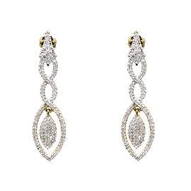 10K Yellow Gold Pave 1.0 ct Diamond Dangle Chandelier Drop Earrings