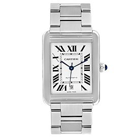 Cartier Tank Solo XL Silver Dial Automatic Steel Mens Watch W5200028 Box