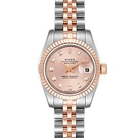 Rolex Datejust 26 Steel Rose Gold Diamond Ladies Watch 179161 Box