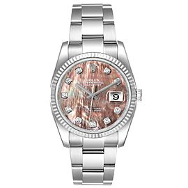 Rolex Datejust Steel White Gold MOP Diamond Mens Watch 116234