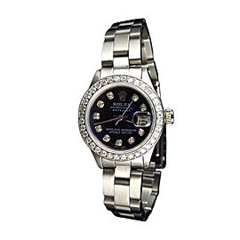 Rolex Datejust Black Dial Oyster Band Diamond Women Watch