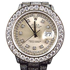 Rolex Full Iced Mens Datejust Oyster Stainless Steel Diamond 17.5 Ct Watch