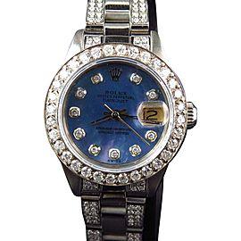 Rolex Ladies Stainless Steel Datejust Jubilee 6 Ct Diamond Blue MOP Dial Watch