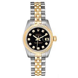 Rolex Datejust Steel Yellow Gold Black Diamond Dial Ladies Watch 179173