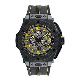 Hublot Big Bang Ferrari Chronograph Black Ceramic Skeleton Dial Black Leather 45mm Mens Watch