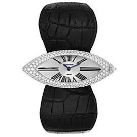 Cartier Callison Navette Shape White Gold Diamond Ladies Watch 2908